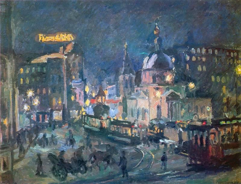 Ночью москва 1928 г холст масло 73 5 95 5